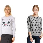 gray cat sweatshirts feature