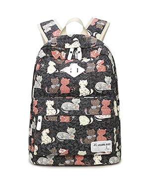 Whimsical Kitten Black School Backpack /& Pencil Bag Set