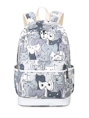 Whimsical Kittens Pattern Backpack and Pencil Case Set