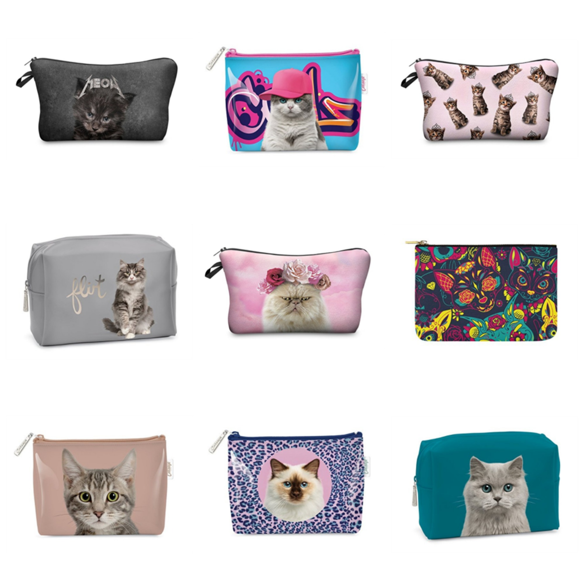 cat makeup bags feature