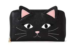 Sweet Kitty Cat Kitten Faux Leather Zip Around Wallet With Cell Phone Pocket