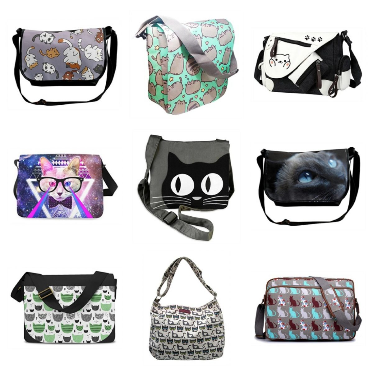 InterestPrint Lovely Cute Cats Casual Ladies Cross Body Hobo Shoulder Bag Travel Purse