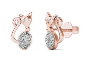 diamond cat earrings