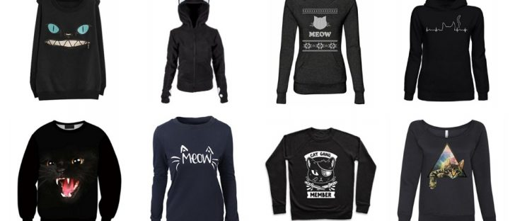black cat sweatshirts hoodies pullowvers feature