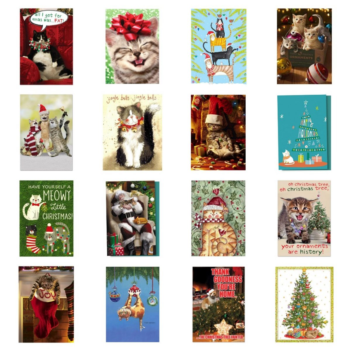 Sets Of Christmas Cards For Cat Lovers Meow As Fluff