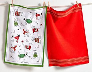 cat christmas kitchen tea dish towels