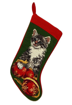 Bulldog Christmas Stocking 100/% Wool Hand-Stiched Needlpoint Precious