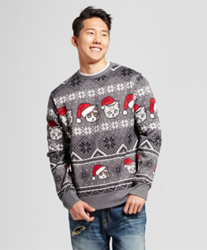 ugly cat christmas sweater for men