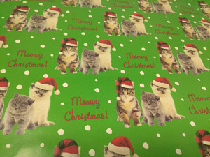 cat christmas wrapping paper