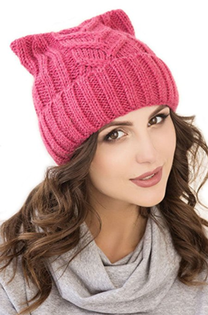 8daa751b7af Pussy Cat Hat Women`s Cat Beanie Pink-Winter Hat For Women Lined With  Fleece (Hot Pink)