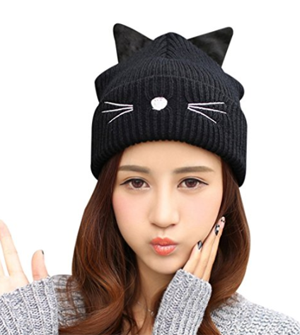 799aa5189dd MIOIM Womens Girls Cute Cat Ears Embroidery Winter Warm Hat Ski Skull Beanies  Cap