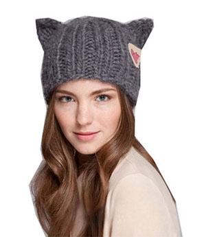 1d6193b9785 WIIPU Winter Warm Hat Women s Knitted Hats Cat Ears Knitting Caps