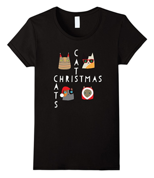 short-sleeved womens christmas cat tshirt