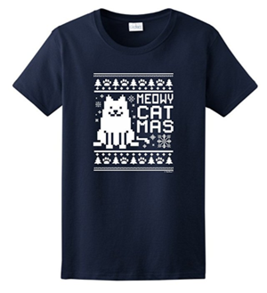 short-sleeved womens christmas cat tshirt