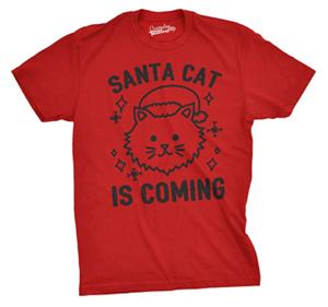 short-sleeved mens cat christmas tshirt