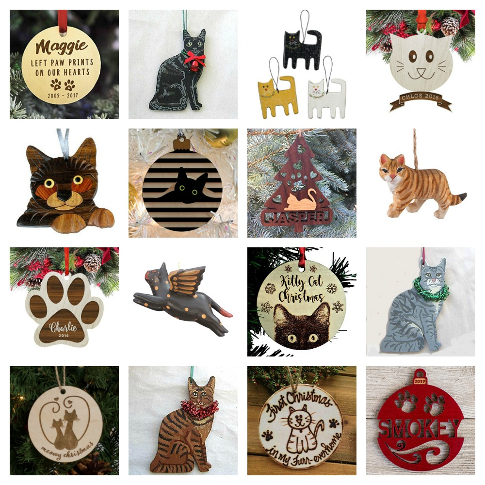 Wooden Cat Ornaments For Your Christmas Tree!