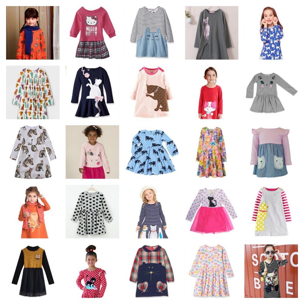 kids girls cute kitten print dress ages 3-14