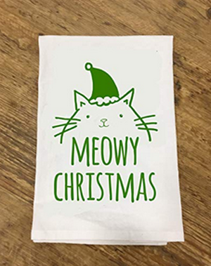 Christmas Kitchen Towels For People Who Love Cats Meow As Fluff