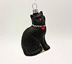 BLACK CAT ROUND BALL CHRISTMAS ORNAMENT