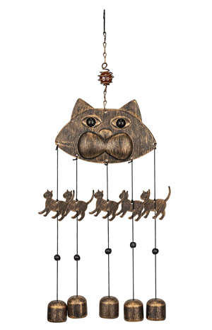 Brown Tabby Cat Stained Glass Wind Chime