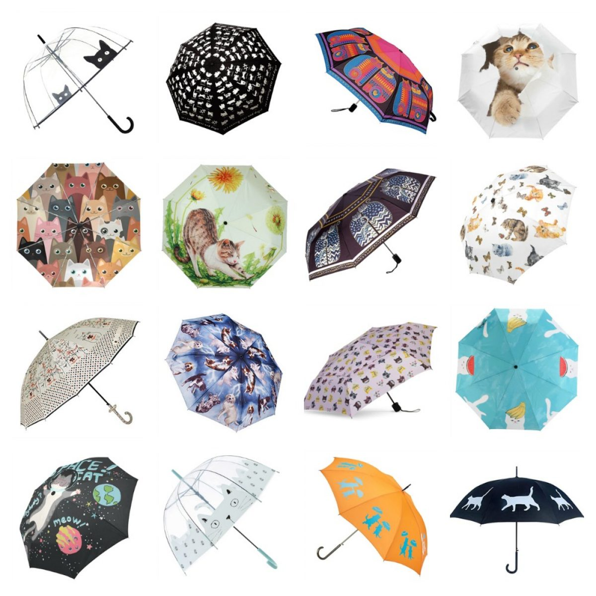 Cats Heads Seamless Pattern Vector Image Compact Travel Umbrella Windproof Reinforced Canopy 8 Ribs Umbrella Auto Open And Close Button Customized