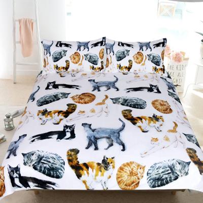 Cat Bedding Set Cute Kitten Print Comforter Cover for Kids Girls Adults Pet White Cat Duvet Cover Breathable 3D Animal Theme Bedspread Cover Room Decor Quilt Cover Full Size
