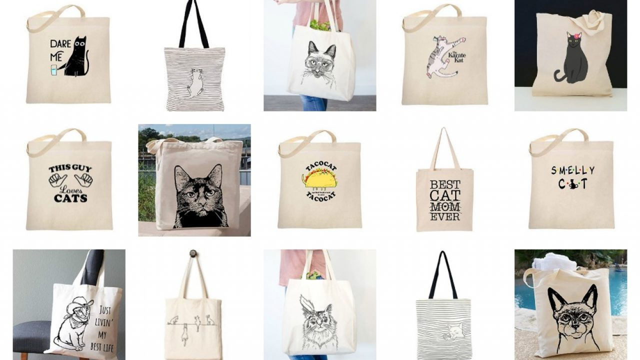 0c5556337d9a Cotton Canvas Tote Bags For People Love Cats! – Meow As Fluff