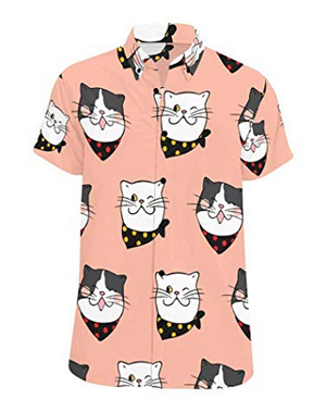 Short Sleeve Button Down Shirts For Men Who Love Cats Meow As Fluff