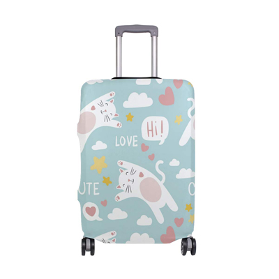 White On Navy Blue Washable Foldable Luggage Cover Protector Fits 18-21Inch Suitcase Covers
