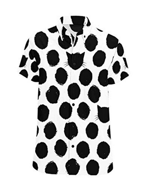 InterestPrint Monochrome Printed Short Sleeve Button Down Shirt for Men