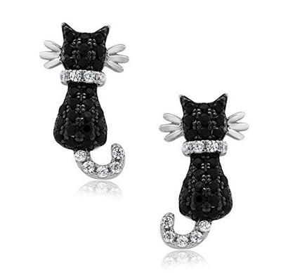 Black Cat Stud Earrings Melanite Garnet and Sterling Silver Cat Fine Jewelry,MADE TO ORDER