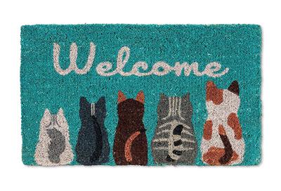 Coir Door Mat Entry Doormat Cats Welcome People Tolerated Funny