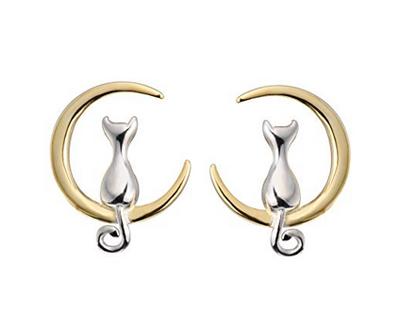 S.Leaf Sterling Silver Earrings Cat Moon Earrings Cat Lovers Gift for Women