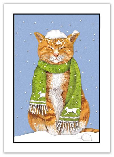Cat Singing Fur-La La La Package of 8 Funny Humorous Christmas Note Cards