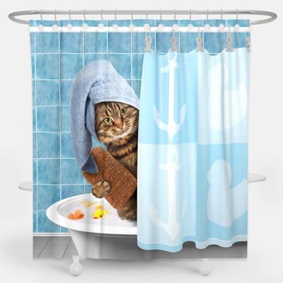 "Funny yellow cat brushing teeth 71*71/"" Fabric Shower Curtain Bathroom Waterproof"