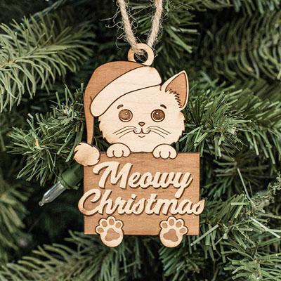 Miradoll Ragdoll Kitten Cat Brown Lazy Wood Christmas Tree Holiday Ornament