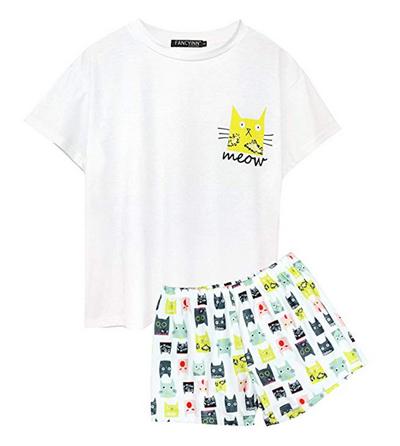 Sleepwear For Women Sexy,Womens Cute Sleepwear Leopard Print Crew-Neck Short Sleeve Tee and Shorts Pajama Set
