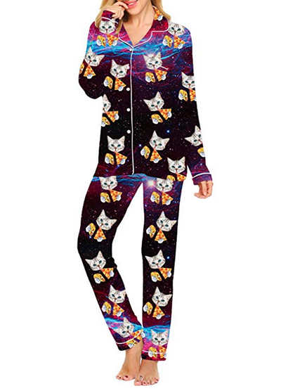 ENJOYNIGHT Womens Sleepwear 100/% Cotton Pajama Sets Long Sleeve Tops with Pants Loungewear