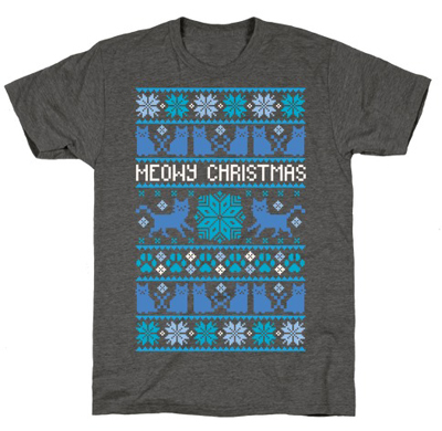 Mens Meowy Christmas Funny Cat Dad Ugly Sweater T shirt Adult Humor Sarcastic