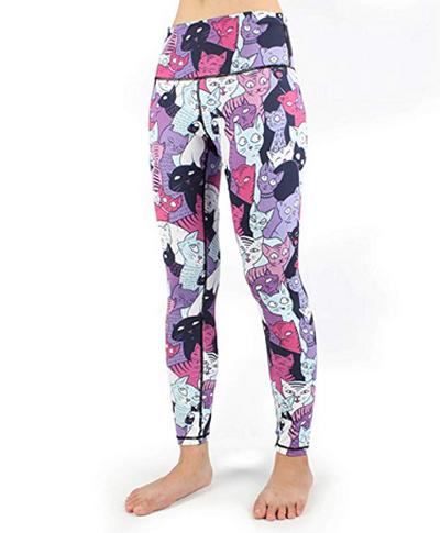 Women Yoga Leggings Pink Leopard Print Cats High Waist Sports Yoga Pants with Pocket