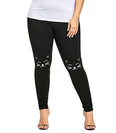 Teal leggings cat lover gift Stretchy Pants tabby cat fun leggings Cute Cats Cat Face Leggings