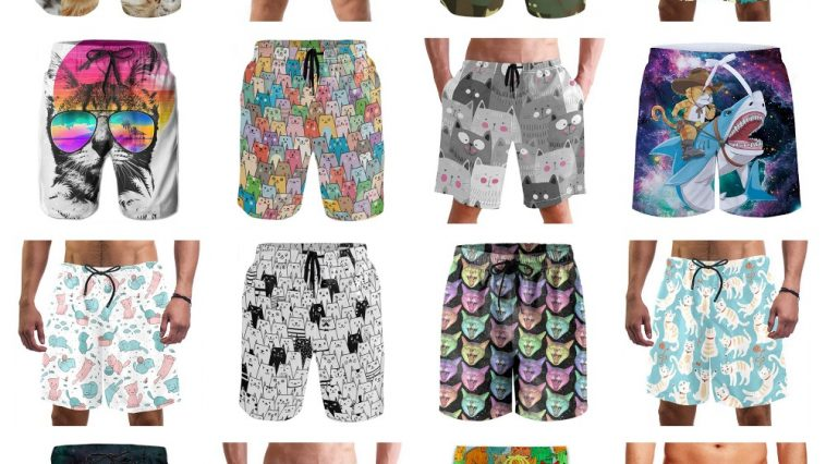 Mens Swim Trunks Veterinary People and Pets Pattern Beach Board Shorts Quick Dry Sports Running Swim Board Shorts with Pockets Mesh Lining